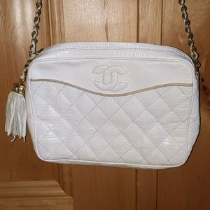 Chanel Vintage White Lizard Camera Case Bag